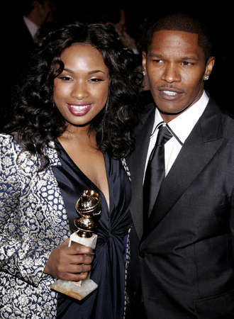 golden globe: Jennifer Hudson and Jamie Foxx attend the 2007 Paramount Pictures Golden Globe Award After-Party held at the Beverly Hilton Hotel in Beverly Hills, California, on January 15, 2007. Editorial