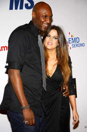 Lamar Odom and Khloe Kardashian at the 19th Annual Race To Erase MS held at the Hyatt Regency Century Plaza in Century City, USA on May 18, 2012. 新聞圖片