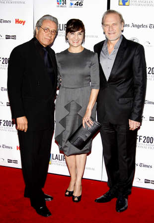 portillo: HOLLYWOOD, CA - OCTOBER 11, 2009: Lluis Homar, Blanca Portillo and Edward James Olmos at the 13th Annual Los Angeles Latino International Film Festival Opening Gala held at the Graumans Chinese Theater in Hollywood, USA on October 11, 2009. Editorial