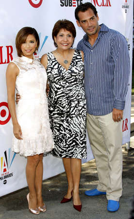 alma: Eva Longoria Parker, NCLR President Janet Murguia, and Cristian de la Fuente at the 2008 ALMA Awards Nominees Press Conference held at the Wisteria Lane, Universal Studios Back Lot in Hollywood, California, United States on July 21, 2008. Editorial