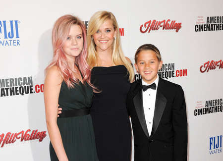 reese: Reese Witherspoon, Ava Phillippe and Deacon Phillippe at the 29th American Cinematheque Award Honoring Reese Witherspoon held at the Hyatt Regency Century Plaza in Los Angeles on October 30, 2015.