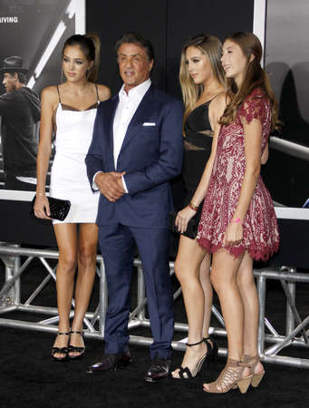 creed: Sistine Rose Stallone, Sylvester Stallone, Sophia Rose Stallone and Scarlet Rose Stallone at the Los Angeles premiere of Creed held at the Regency Village Theatre in Westwood, USA on November 19, 2015.