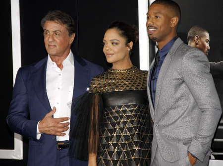 sylvester: Tessa Thompson, Sylvester Stallone and Michael B. Jordan at the Los Angeles premiere of Creed held at the Regency Village Theatre in Westwood, USA on November 19, 2015.
