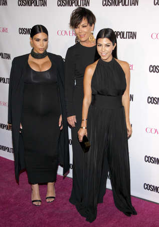 west hollywood: Kim Kardashian, Kris Jenner and Kourtney Kardashian at the Cosmopolitans 50th Birthday Celebration held at the Ysabel in West Hollywood, USA on October 12, 2015. Editorial