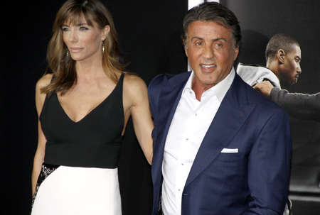 sylvester: Sylvester Stallone and Jennifer Flavin at the Los Angeles premiere of Creed held at the Regency Village Theatre in Westwood, USA on November 19, 2015.