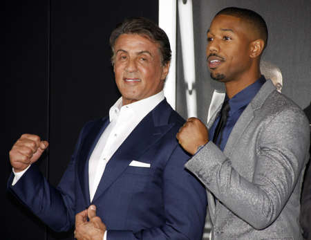 creed: Sylvester Stallone and Michael B. Jordan at the Los Angeles premiere of Creed held at the Regency Village Theatre in Westwood, USA on November 19, 2015.