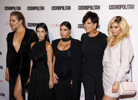 Khloe Kardashian, Kourtney Kardashian, Kim Kardashian, Kris Jenner and Kylie Jenner at the Cosmopolitan's 50th Birthday Celebration held at the Ysabel in West Hollywood, USA on October 12, 2015. Stock Photo - 51149590