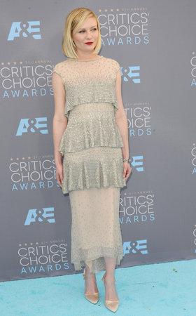 critics: Kirsten Dunst at the 21st Annual Critics Choice Awards held at the Barker Hangar in Santa Monica, USA on January 17, 2016.