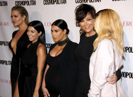 west hollywood: Khloe Kardashian, Kourtney Kardashian, Kim Kardashian, Kris Jenner and Kylie Jenner at the Cosmopolitans 50th Birthday Celebration held at the Ysabel in West Hollywood, USA on October 12, 2015.