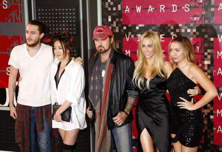glenn: LOS ANGELES, CA - AUGUST 30, 2015: Braison Cyrus, Tish Cyrus, Noah Cyrus, Billy Ray Cyrus and Brandi Glenn Cyrus at the 2015 MTV Video Music Awards held at the Microsoft Theater in Los Angeles, USA on August 30, 2015.