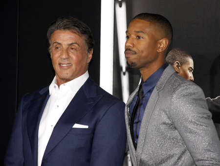 Sylvester Stallone and Michael B. Jordan at the Los Angeles premiere of 'Creed' held at the Regency Village Theatre in Westwood, USA on November 19, 2015. 報道画像