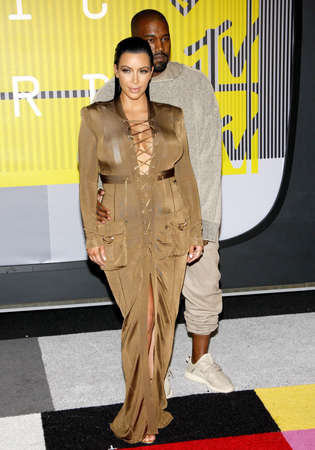 Kanye West and Kim Kardashian at the 2015 MTV Video Music Awards held at the Microsoft Theater in Los Angeles, USA on August 30, 2015. Editorial