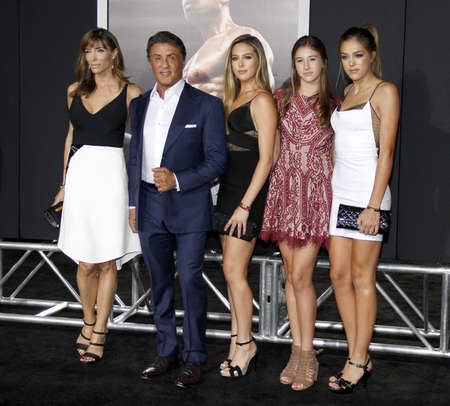 sylvester: Sistine Stallone, Jennifer Flavin, Sylvester Stallone, Sophia Stallone and Scarlet Stallone at the Los Angeles premiere of Creed held at the Regency Village Theatre in Westwood, USA on November 19, 2015. Editorial