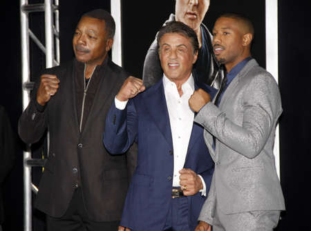 sylvester: Carl Weathers, Sylvester Stallone and Michael B. Jordan at the Los Angeles premiere of Creed held at the Regency Village Theatre in Westwood, USA on November 19, 2015.