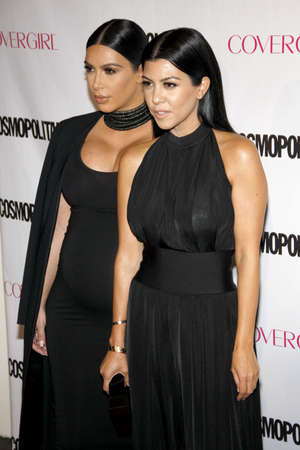 west hollywood: Kourtney Kardashian and Kim Kardashian at the Cosmopolitans 50th Birthday Celebration held at the Ysabel in West Hollywood, USA on October 12, 2015.