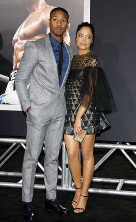 creed: Tessa Thompson and Michael B. Jordan at the Los Angeles premiere of Creed held at the Regency Village Theatre in Westwood, USA on November 19, 2015.
