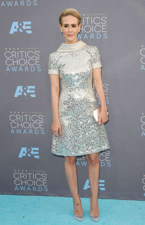 barker: Sarah Paulson at the 21st Annual Critics Choice Awards held at the Barker Hangar in Santa Monica, USA on January 17, 2016. Editorial