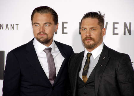 hardy: Leonardo DiCaprio and Tom Hardy at the Los Angeles premiere of The Revenant held at the TCL Chinese Theatre in Hollywood, USA on December 16, 2015.