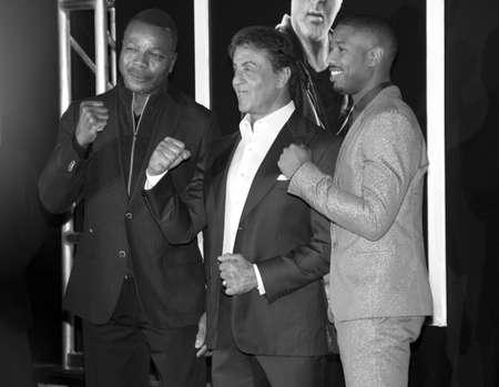 creed: Michael B. Jordan, Sylvester Stallone and Carl Weathers at the Los Angeles premiere of Creed held at the Regency Village Theatre in Westwood, USA on November 19, 2015.