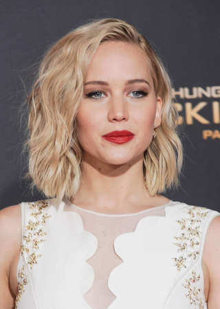 Jennifer Lawrence at the Los Angeles premiere of The Hunger Games: Mockingjay - Part 2 held at the Microsoft Theatre in Los Angeles, USA on November 16, 2015. Editorial
