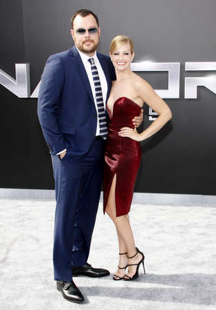 terminator: Beth Behrs and Michael Gladis at the Los Angeles premiere of Terminator Genisys held at the Dolby Theatre in Hollywood, USA on June 28, 2015.