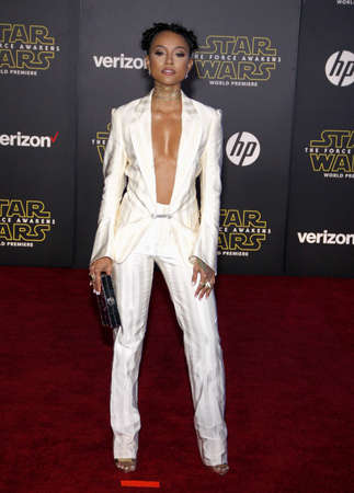 tran: HOLLYWOOD, CA - Karrueche Tran at the World premiere of Star Wars: The Force Awakens held at the TCL Chinese Theatre in Hollywood, USA on December 14, 2015.