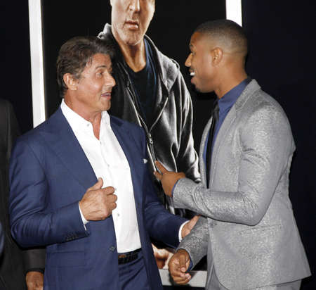 sylvester: Sylvester Stallone and Michael B. Jordan at the Los Angeles premiere of Creed held at the Regency Village Theatre in Westwood, USA on November 19, 2015.