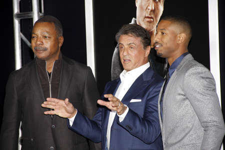 sylvester: Michael B. Jordan, Sylvester Stallone and Carl Weathers at the Los Angeles premiere of Creed held at the Regency Village Theatre in Westwood, USA on November 19, 2015.