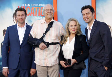 Jonathan Goldstein, John Francis Daley, Chevy Chase and Beverly DAngelo at the Los Angeles premiere of Vacation held at the Regency Village Theatre in Westwood, USA on July 27, 2015.
