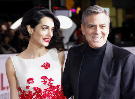 George Clooney and Amal Clooney at the World premiere of 'Hail, Caesar!' held at the Regency Village Theatre in Westwood, USA on February 1, 2016. 報道画像