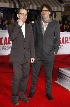 Ethan Coen and Joel Coen at the World premiere of Hail, Caesar! held at the Regency Village Theatre in Westwood, USA on February 1, 2016.