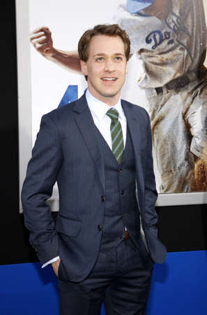 tr: T.R. Knight at the 42 Los Angeles Premiere at TCL Chinese Theater on April 9, 2013 in Hollywood, California.