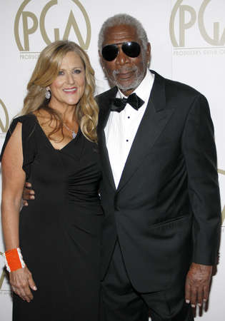 guild: Morgan Freeman and Lori McCreary at the 25th Annual Producers Guild Awards held at the Beverly Hilton Hotel in Los Angeles, USA on January 19, 2014.