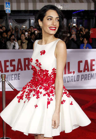 Amal Clooney at the World premiere of Hail, Caesar! held at the Regency Village Theatre in Westwood, USA on February 1, 2016.