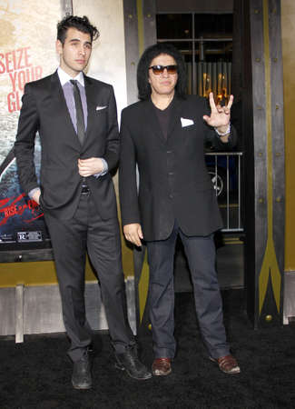 Gene Simmons and Nick Simmons at the Los Angeles premiere of 300: Rise Of An Empire held at the TCL Chinese Theatre in Los Angeles, United States, 040314.