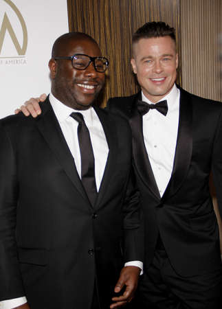 brad pitt: Brad Pitt and Steve McQueen at the 25th Annual Producers Guild Awards held at the Beverly Hilton Hotel in Los Angeles, USA on January 19, 2014. Editorial