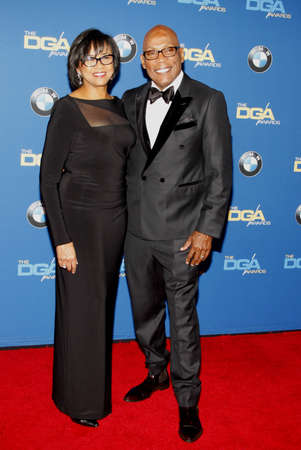 Paris Barclay and Cheryl Boone Isaacs at the 68th Annual Directors Guild Of America Awards held at the Hyatt Regency Century Plaza in Los Angeles, USA on February 6, 2016. 免版税图像 - 51989428