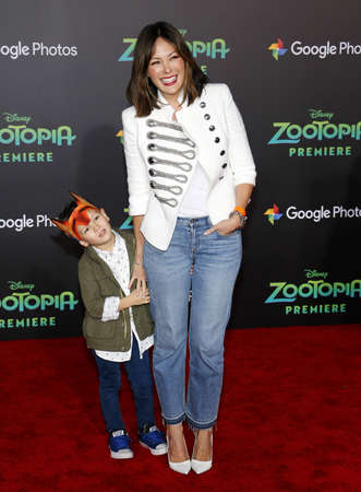 Lindsay Price and son Hudson Stone at the Los Angeles premiere of Zootopia held at the El Capitan Theater in Hollywood, USA on February 17, 2016. Editorial