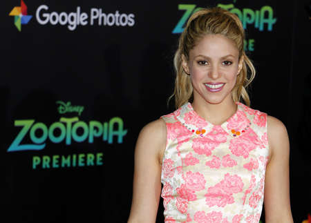 Shakira at the Los Angeles premiere of Zootopia held at the El Capitan Theater in Hollywood, USA on February 17, 2016.