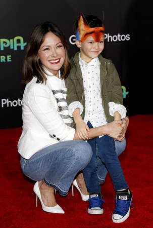 lindsay: Lindsay Price and son Hudson Stone at the Los Angeles premiere of Zootopia held at the El Capitan Theater in Hollywood, USA on February 17, 2016. Editorial