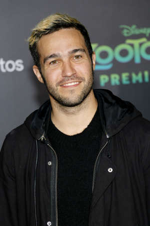 pete: Pete Wentz of Fall Out Boy at the Los Angeles premiere of Zootopia held at the El Capitan Theater in Hollywood, USA on February 17, 2016. Editorial
