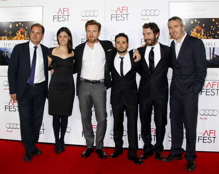 Sergio G. Sanchez, Ewan McGregor, Juan Antonio Bayona, Belen Atienza, Alvaro Augustin and Ghislain Barrois at the AFI FEST 2012 Special Screening of The Impossible held at the Graumans Chinese Theatre in Hollywood on November 4, 2012.