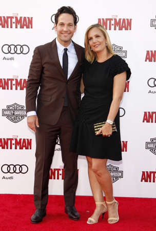 dolby: Paul Rudd and Julie Yaeger at the World premiere of Marvels Ant-Man held at the Dolby Theatre in Hollywood, USA on June 29, 2015.