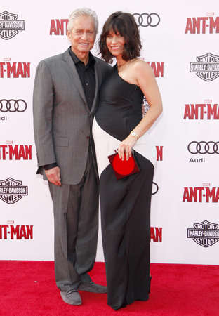 dolby: Michael Douglas and Evangeline Lilly at the World premiere of Marvels Ant-Man held at the Dolby Theatre in Hollywood, USA on June 29, 2015.