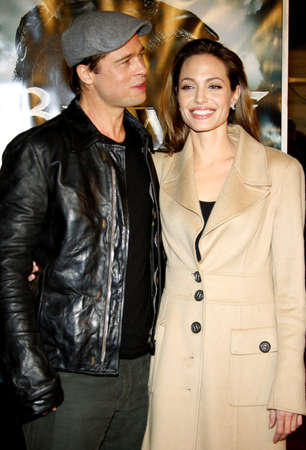 brad pitt: Brad Pitt and Angelina Jolie attend the Los Angeles Premiere of Beowulf held at the Westwood Village Theater in Westwood, California, United States on November 5, 2007. Editorial