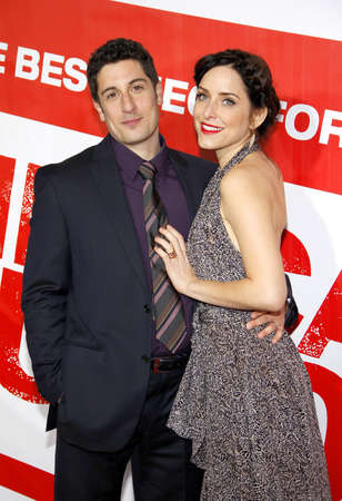Jason Biggs and Jenny Mollen at the Los Angeles premiere of American Reunion held at the Graumans Chinese Theater in Hollywood on March 19, 2012.