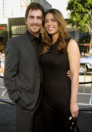 """premieres: Christian Bale and wife Sibi Blazic attend the Los Angeles Premiere of """"Batman Begins"""" held at the Grauman's Chinese Theater in Hollywood, California, on June 6, 2005."""