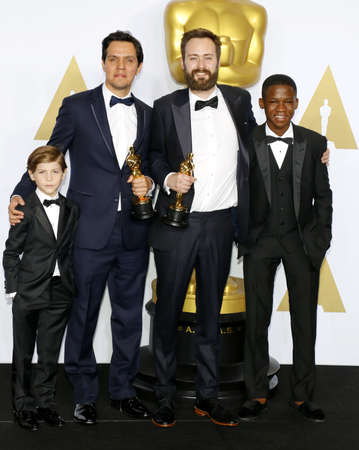 atta: Shan Christopher Ogilvie, Benjamin Cleary, Abraham Atta and Jacob Tremblay at the 88th Annual Academy Awards - Press Room held at the Loews Hollywood Hotel in Hollywood, USA on February 28, 2016.