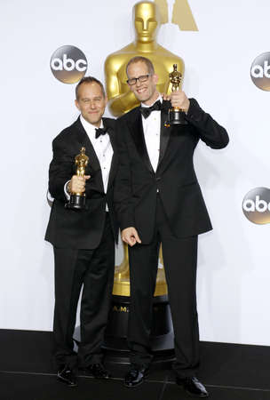 pete: Jonas Rivera and Pete Docter at the 88th Annual Academy Awards - Press Room held at the Loews Hollywood Hotel in Hollywood, USA on February 28, 2016.