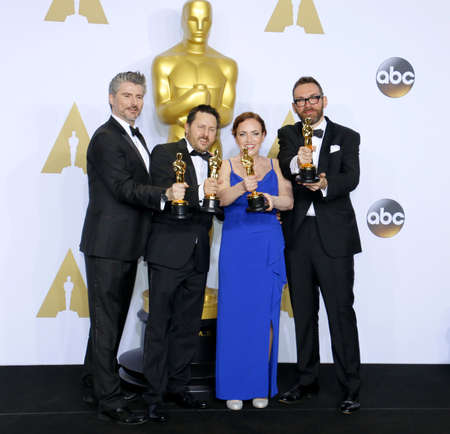 bennett: Mark Williams Ardington, Paul Norris, Sara Bennett and Andrew Whitehurst at the 88th Annual Academy Awards - Press Room held at the Loews Hollywood Hotel in Hollywood, USA on February 28, 2016.